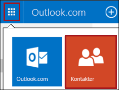 Panelen Kontakter på Outlook.com