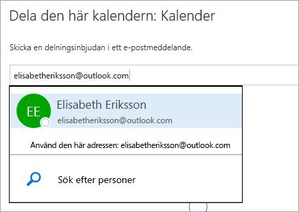 En skärmbild av dialogrutan Dela kalender i Outlook.com.