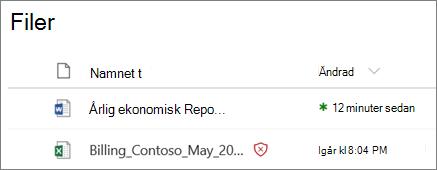 Skärmbild av filer i OneDrive för företag med en identifieras som skadliga