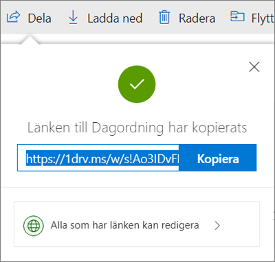 Bekräftelse för Kopiera länk när filer delas via länk i OneDrive