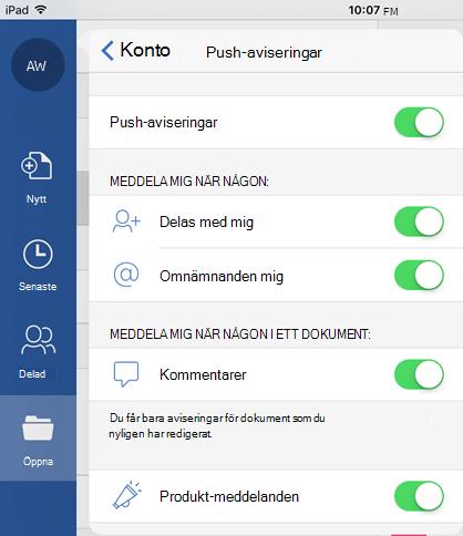 Tryck på knappen profil om du vill konfigurera push-meddelanden för delade dokument