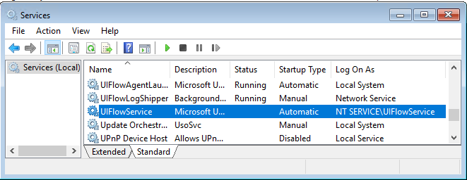 UIFlowService installerad domänkontrollant
