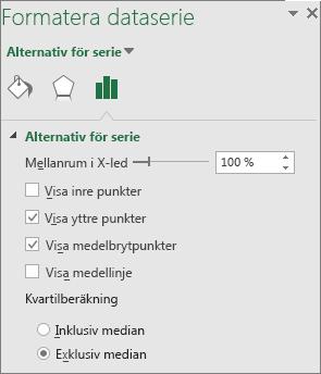 Åtgärdsfönstret Formatera dataserie med rut- och morrhårsdiagramalternativ i Office 2016 för Windows