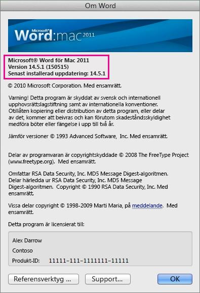 Sidan Om Word i Word för Mac 2011