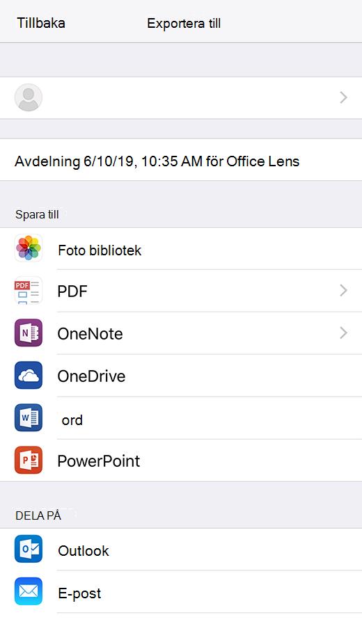 Export alternativ i Office Lens för iOS