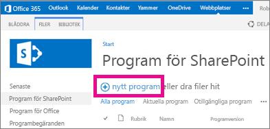 Nytt program-länken i biblioteket Program för SharePoint i programkatalogen