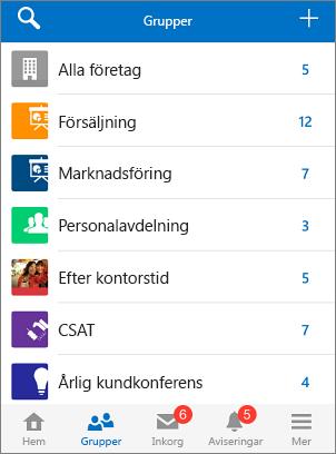 Skärmbild av grupper i Yammer-mobilappen