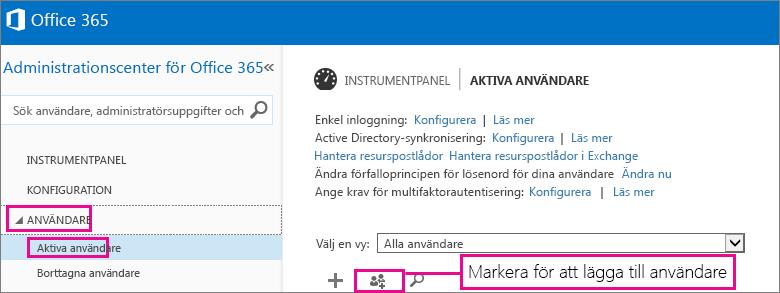 En bild av avsnittet Användare i administrationscentret för Office 365