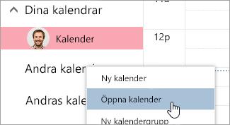 En skärmbild av alternativet Öppna kalender