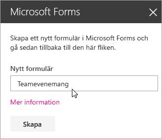 Microsoft Forms-webbdelspanel för ett nytt formulär.
