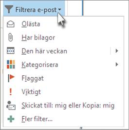 Filtrera e-postmeddelanden