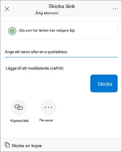 Skärmbild av iOS delning i dialogrutan.