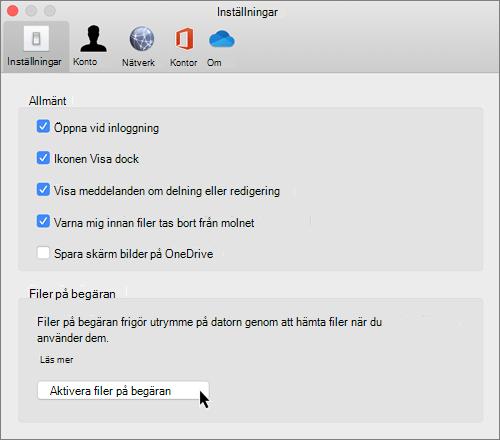 Skärm bild av inställningar i Mac för OneDrive-filer på begäran