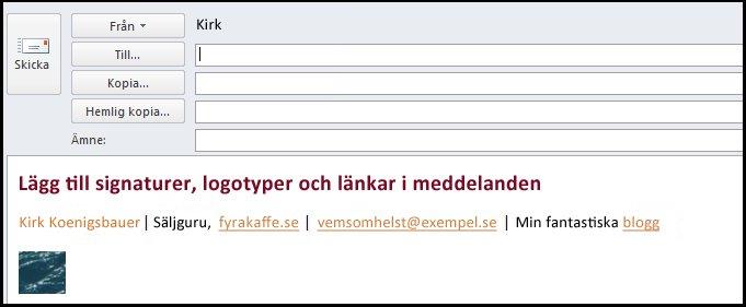 elektroniska signaturer för e-postmeddelanden