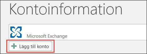 Lägg till konto i Outlook 2016