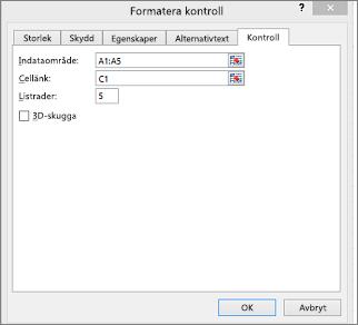 Dialogrutan Formatera kontroll