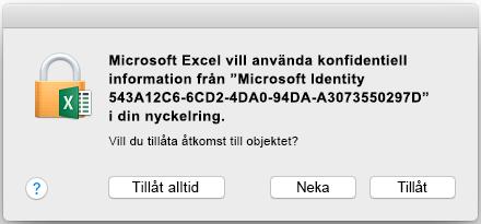 Nyckelringsprompt i Office 2016 för Mac