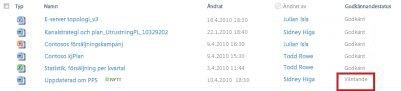 SharePoint-bibliotek med en väntande fil som väntar på godkännande
