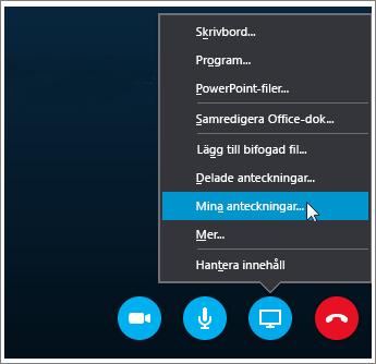 Skärmbild av hur du delar anteckningar från OneNote 2016 i Skype för företag.