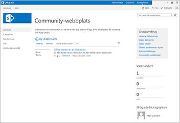 Webbplatsmall för community