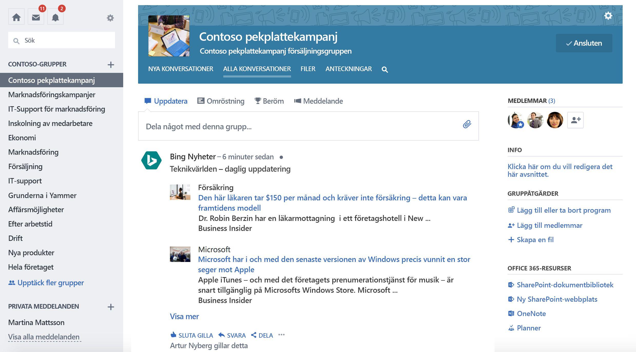 Skärm bild av gruppens uppdatering från tjänsten från tredje part