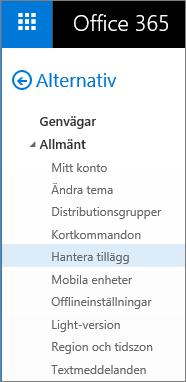 Skärmbild av avsnittet Allmänt på menyn Alternativ i Outlook, med alternativet Hantera tillägg markerat.