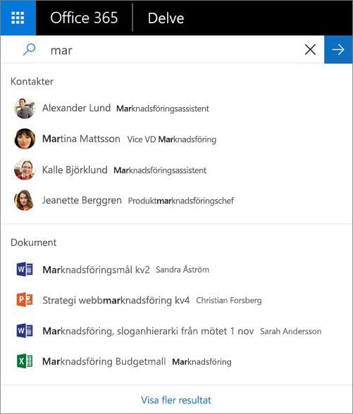 Använd sökfunktionen för att hitta kontakter och information