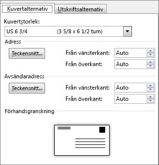 Fliken Kuvertalternativ där du anger kuvertstorlek och teckensnitt för adresserna