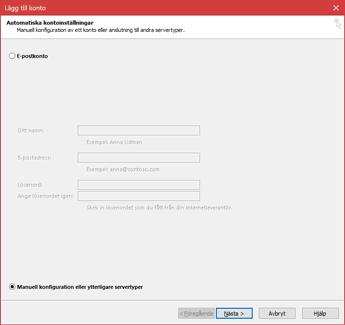 Välj Manuell konfiguration eller ytterligare servertyper