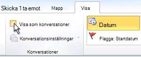 Kryssrutan Visa som konversationer i menyfliksområdet