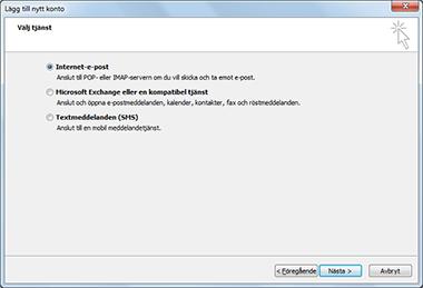 Alternativet Välj server i dialogrutan Lägg till nytt konto