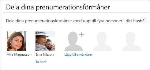"""Skärmbild av avsnittet """"Dela dina prenumerationsförmåner"""" på sidan Dela Office 365 som visar länken """"Ta bort"""" under en användares bild."""