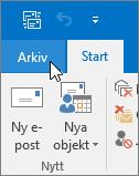 Skärmbild av Arkiv-menyn i Outlook 2016
