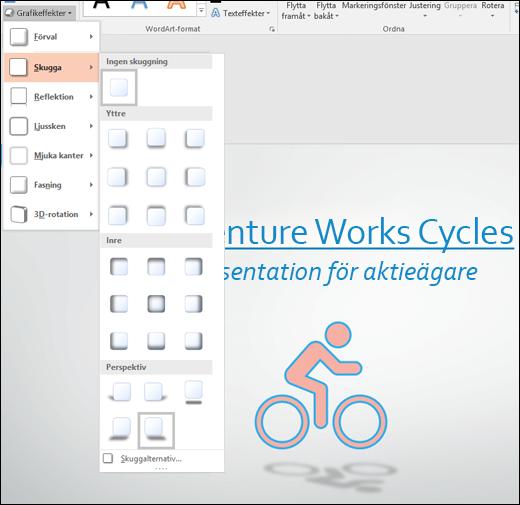 Lägga till effekter som skuggor i SVG-grafik med verktyget Grafikeffekter