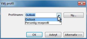 Dialogrutan för att välja Outlook-profil
