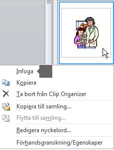 Om du vill infoga en bild högerklickar du på en miniatyrbild och väljer Infoga.