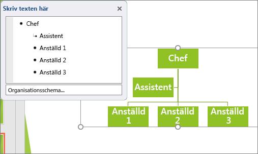 Visar ett exempel på ett SmartArt-organisationsschema