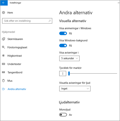 Hjälpmedel, fönstret Andra alternativ i Windows 10-inställningar