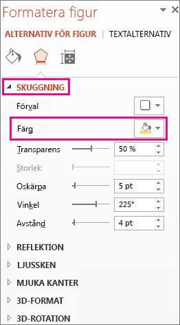 Färgknapp på fliken Skugga i rutan Formatera figur