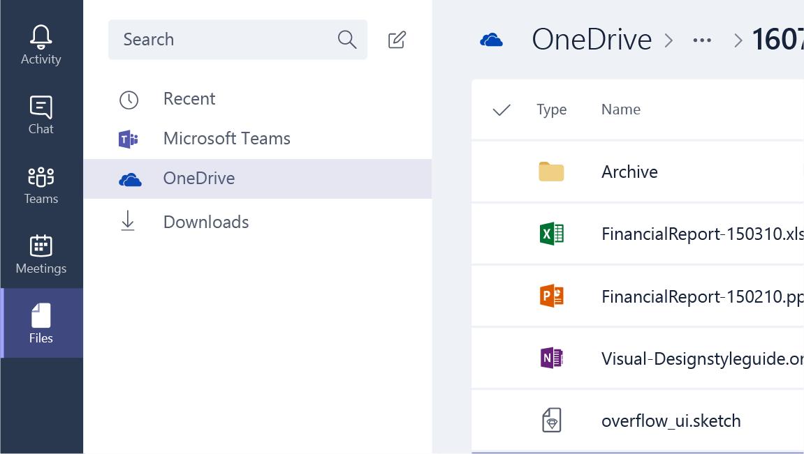 Filer med OneDrive markerad