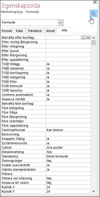 Skärmbild av egenskapssidan i Access med egenskaper sorterade i bokstavsordning