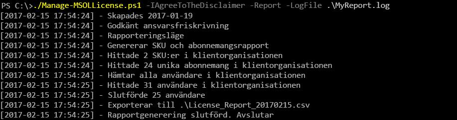 Utdata från körningen av skriptet Manage-MSOLLicense.