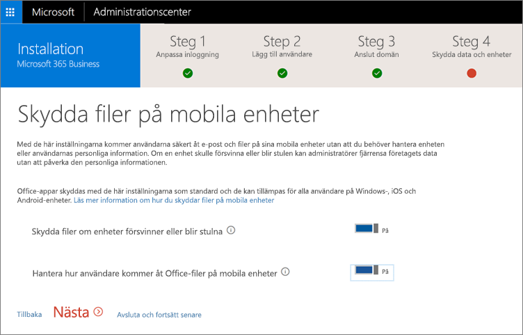 Skärmbild av skyddade arbetsfiler på sidan för mobila enheter