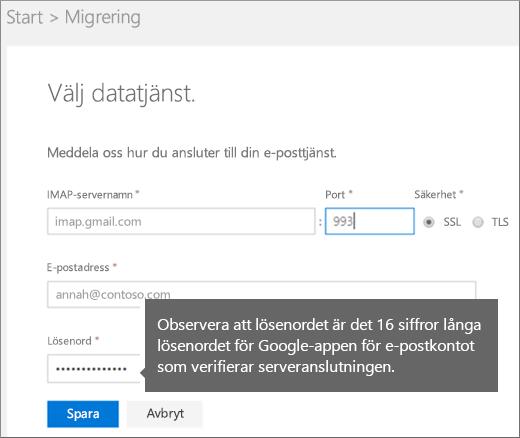 Fyll i IMAP-serverinformation och kontoinformation när du vill ansluta
