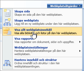 Menyn Webbplatsåtgärder med Visa allt webbplatsinnehåll markerat
