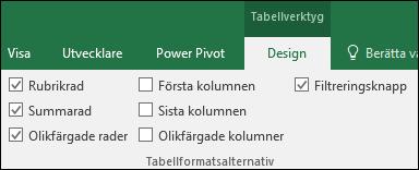 Bild av alternativet Tabellverktyg i menyfliksområdet när en tabellcell är markerad