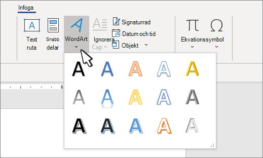 Galleriet WordArt-format
