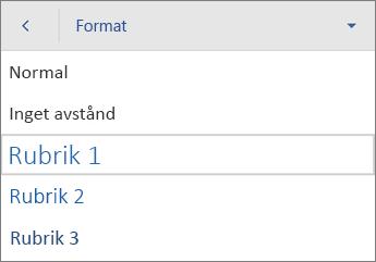 Kommandot Format, med Rubrik 1 markerat