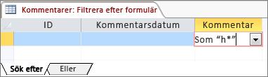 Filtrera enligt formulär