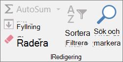 På fliken Start klickar du på Radera
